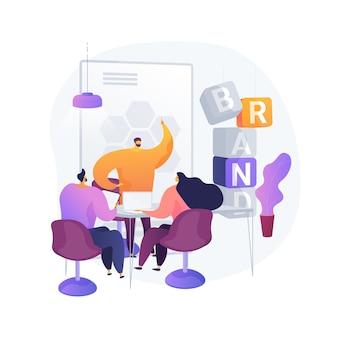 브랜드 워크숍 추상적 인 개념 벡터 일러스트입니다. 브랜드 프레젠테이션, 브랜드 별 워크샵, 마케팅 프로모션 이벤트, 제품 배치, 품질 데모 추상 은유.