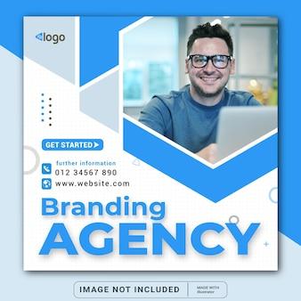 Корпоративный баннер брендингового агентства для шаблона поста в социальных сетях instagram или квадратного флаера