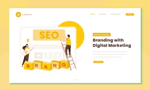 Брендинг и цифровой маркетинг иллюстрации стратегии seo на концепции целевой страницы