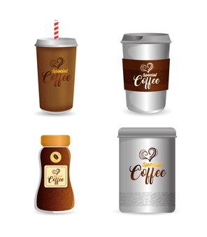 ブランドコーヒーショップ、コーポレートアイデンティティ、ボトル、特別なコーヒーの使い捨て