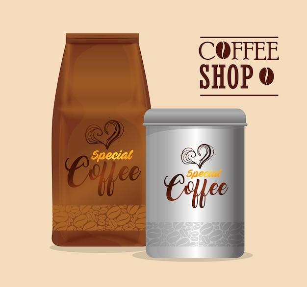 Брендирование кофейни, ресторана, фирменного стиля, бумаги для бутылок и пакетов специального дизайна иллюстрации кофейной бутылки