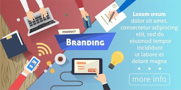 브랜딩 개념, 창의적인 아이디어, 데스크톱 격리 된 배너의 디지털 마케팅