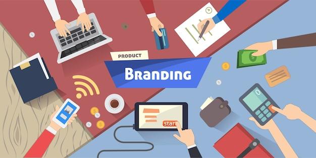 ブランディングの概念デスクトップの孤立したイラストの創造的なアイデアデジタルマーケティング