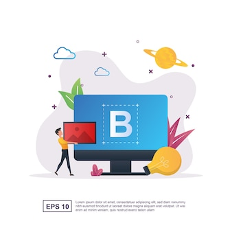 Branding concept with letter b on screen and people carrying pictures.