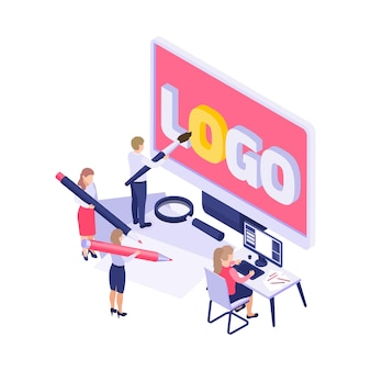 Branding concept  with people drawing and painting logo 3d  illustration