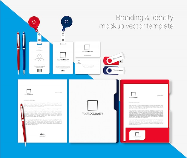 Branding and identity mockup vector template