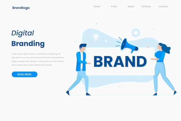 Branding illustration landing page concept