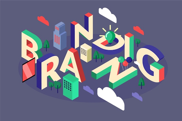 Branding isometric typographic message
