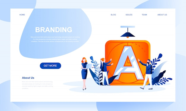 Branding landing page template with header
