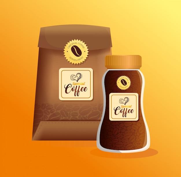 Брендовый макет кофейни, ресторана, макет фирменного стиля, стеклянная бутылка и бумажный пакет специального кофе