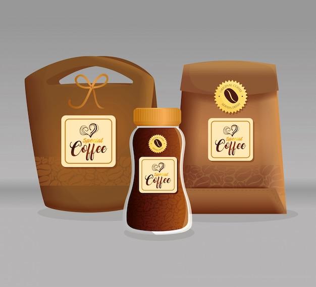 Брендинг макета кофейни, ресторана, макета фирменного стиля, стеклянной бутылки и пакетов бумаги из специального кофе