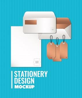 ブランディングモックアップ封筒とコーポレートアイデンティティと文房具のデザインテーマのラベル