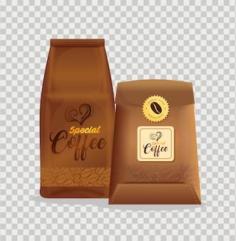 커피 숍, 레스토랑, 기업 정체성 모형, 특수 커피 봉지에 대한 브랜딩 모형 세트