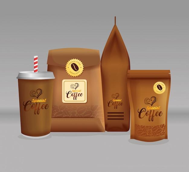 Набор макетов брендов для кафе, ресторана, макет фирменного стиля, набор специальных пакетов кофе