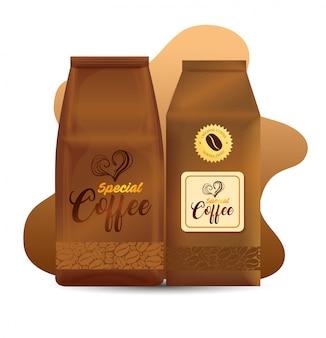 상점 커피, 레스토랑, 기업 정체성 모형, 특수 커피 봉투 용지에 대한 브랜딩 모형 세트