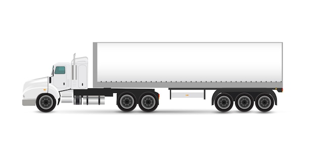 Branding mockup set of truck trailer, delivery van