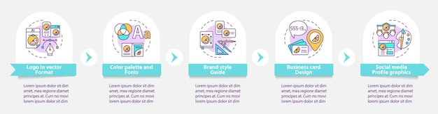 브랜딩 서비스 벡터 infographic 템플릿입니다. 색상 팔레트, 글꼴 프레젠테이션 개요 디자인 요소. 5단계로 데이터 시각화. 타임라인 정보 차트를 처리합니다. 라인 아이콘이 있는 워크플로 레이아웃