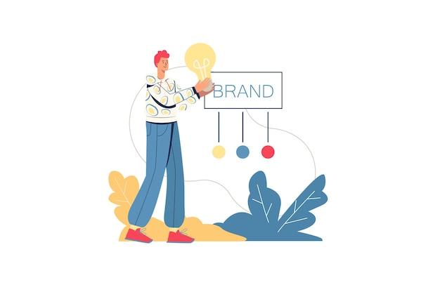 브랜딩 웹 개념입니다. 남성 디자이너는 브랜드 아이덴티티를 개발하고 긍정적인 비즈니스 이미지를 생성하며 고객에게 스타트업을 홍보하고 사람을 최소화합니다. 웹사이트에 대 한 평면 디자인의 벡터 일러스트 레이 션
