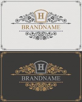 書道のエレガントな装飾要素が繁栄するブランド名モノグラムロゴテンプレート。