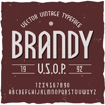 Brandy background with vintage typeface label with editable ornate text and  letters  illustration