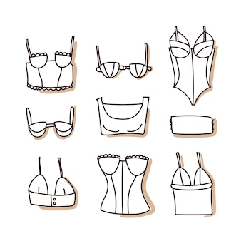 Bras set of icons. hand draw
