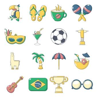 Brasil travel icons set