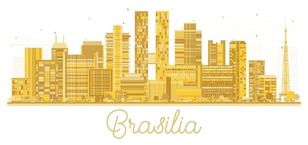 흰색 절연 황금 건물과 브라질리아 브라질 도시 스카이 라인 실루엣. 벡터 일러스트 레이 션. 현대 건축과 비즈니스 여행 및 관광 개념입니다. 랜드마크가 있는 브라질리아 도시 풍경.