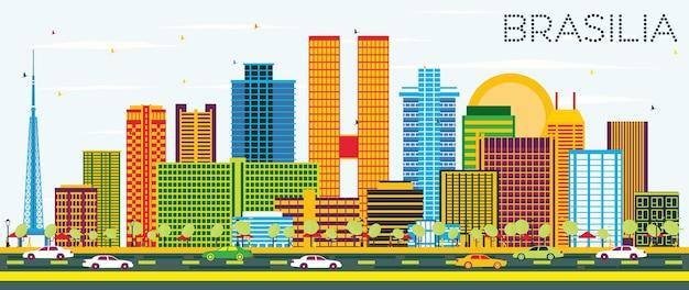 색상 건물과 푸른 하늘이 있는 브라질리아 브라질 도시 스카이라인. 벡터 일러스트 레이 션. 현대 건축과 비즈니스 여행 및 관광 개념입니다. 랜드마크가 있는 브라질리아 도시 풍경.