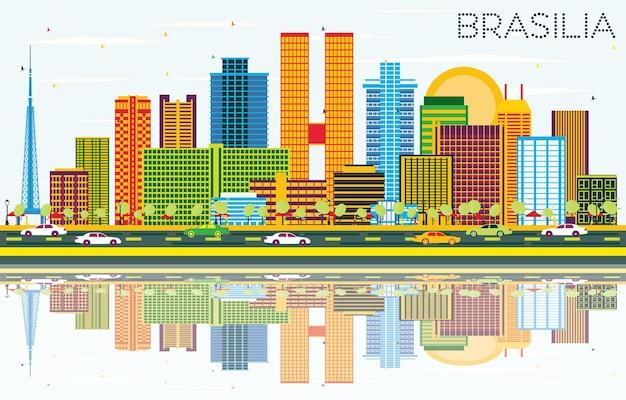 색상 건물, 푸른 하늘 및 반사와 브라질리아 브라질 도시 스카이 라인. 벡터 일러스트 레이 션. 현대 건축과 비즈니스 여행 및 관광 개념입니다. 랜드마크가 있는 브라질리아 도시 풍경.