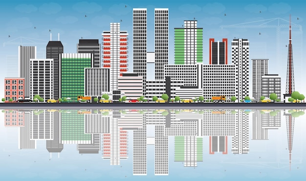 Brasilia skyline with gray buildings, blue sky and reflections. vector illustration. business travel and tourism concept with modern architecture. image for presentation banner placard and web site.