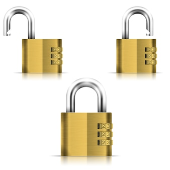 황동 열리고 닫힌 고립 된 자물쇠