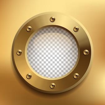 Brass porthole with transparent glass.