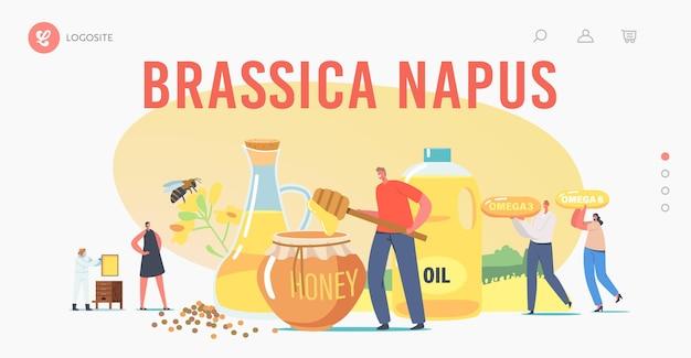 Brassica napus 방문 페이지 템플릿. 유채 유채 기름과 꿀을 추출하는 캐릭터. 양봉장 생산. 보호복을 입은 양봉가는 농장에서 벌집을 가져갑니다. 만화 사람들 벡터 일러스트 레이 션