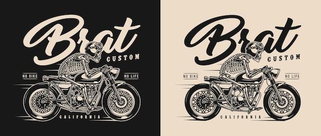 Винтажная этикетка для мотоциклов в стиле brat со скелетом-гонщиком в мотошлеме и очках, ездящим на кастомном мотоцикле