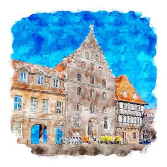 브라운슈바이크 독일 수채화 스케치 손으로 그린 그림