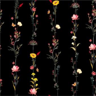 Brautiful dark garden night seamless pattern in vector stylish illustration stripe vertical row garden flower botanical  design for fashion, fabric, web, wallpaper