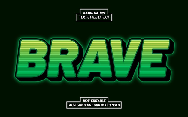Brave 3d bold text style effect