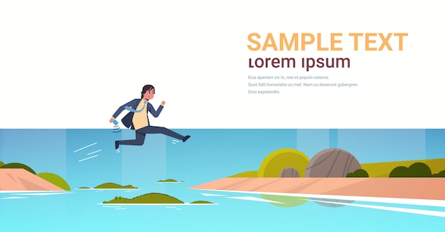 Brave businessman jumping over river with crocodiles risk and danger challenge determination concept business man running to goal full length flat horizontal copy space