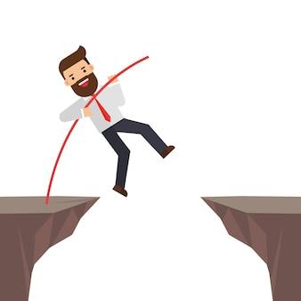 Brave businessman jumping