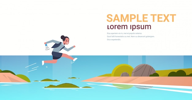 Brave businesswoman jumping over river with crocodiles risk and danger optimism determination concept business woman running to goal full length flat horizontal copy space