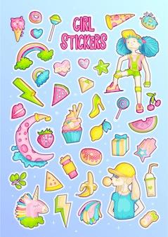 Brave cute fashion girl cartoon sticker set.
