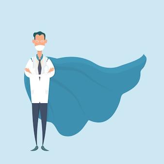 医療マスクとヒーロースーツを着て勇敢な医者。