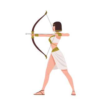 Brave female warrior from egyptian mythology or ancient egypt history on white.