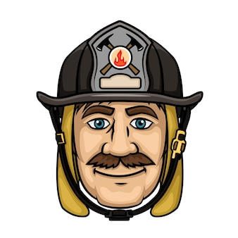 Brave firefighter in cartoon style with smiling mustached fireman in protective hood and black helmet