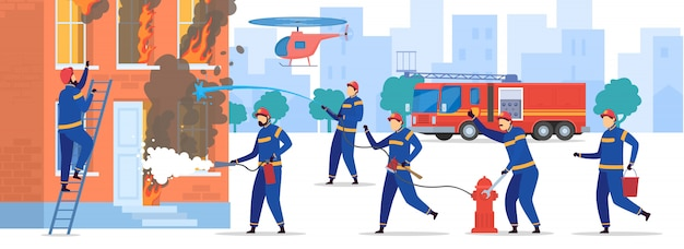 Brave firefighters extinguish fire in house, people illustration