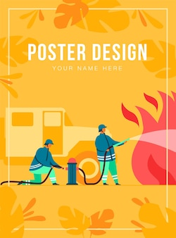 Brave firefighters firefighting with flame poster template
