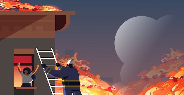 Brave fireman climbing ladder firefighter rescuing woman in burning house firefighting emergency service extinguishing fire concept orange flame background flat portrait horizontal