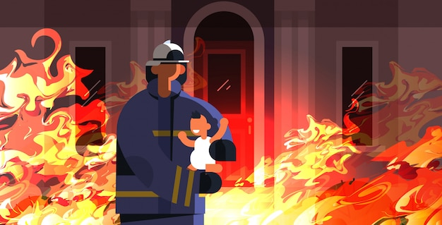 Brave fireman rescuing little child firefighter in uniform and helmet firefighting emergency service extinguishing concept fire in burning house orange flame background flat portrait horizontal