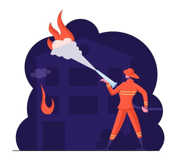ホースファイティングから水を噴霧する勇敢な消防士