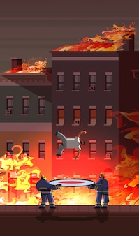 Brave firemen holding trampoline life safe net catching falling down man firefighting emergency service concept fire in burning house orange flame cityscape background full length vertical